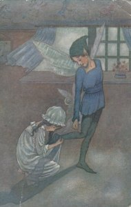 PETER PAN, Wendy sewing on shadow, Season's Greetings, PU-1924
