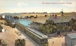 Yuma Arizona Sunset Express Railroad Train Antique Postcard K33863