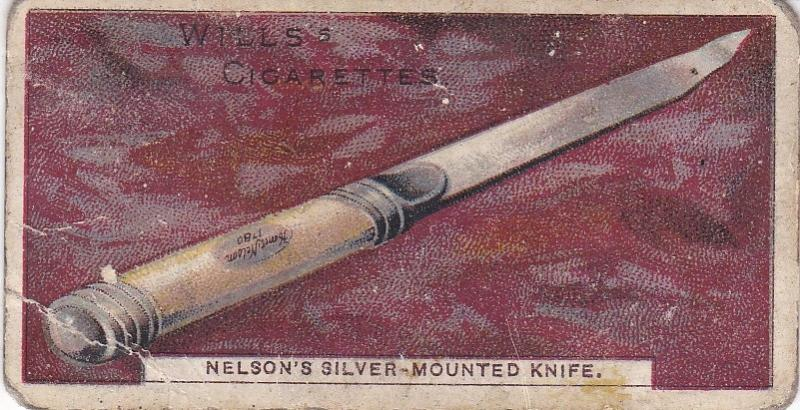 Cigarette Card Wills Nelson Series No. 16 Nelson's Silver-Mounted Knife