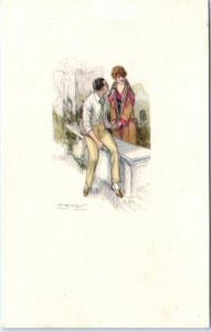 Signed Artist  MAUZAN  Art Deco  ROMANTIC COUPLE   395M-4  Postcard