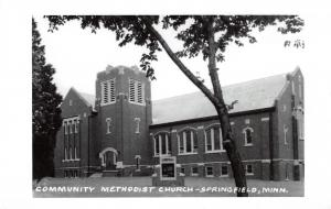 Springfield MN Welcome Sign in Front of Community Methodist Church~RPPC c1950s