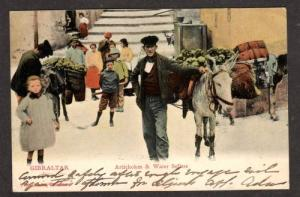 Artichokes Water Sellers Donkey 1906 GIBRALTAR Postcard