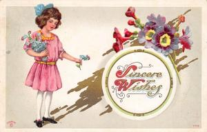 P.Sander Artist Signed Sincere Wishes 1911 Postcard Pretty Girl w Flowers Ohio