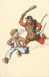 Chain Devil running Krampus Boy Christmas comic artist signed fantasy postcard