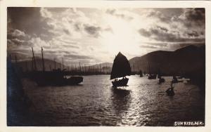RP, Sunrise, Fishing Boats, HONG KONG, China, 1920-1940s