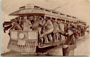 1910s TROLLEY Comic Humor Postcard Loaded Streetcar Always Room for One More