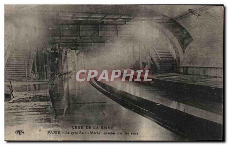 Old Postcard Cure Seine Paris La Gare Saint Michel Metro Invaded by the water
