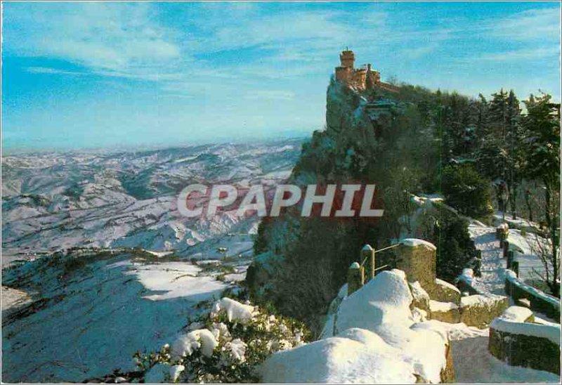 Postcard Modern Republica di S. Marino Winter Second Tower View