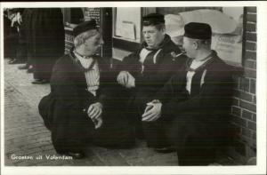 Holland Dutch Men Socutmes Goreten uit Volendam Real Photo Postcard