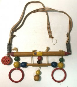 Vintage Wooden Cradle Gym A Right-Time Toy Baby Mobile 1950s