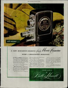 1948 Bell and Howell Filmo Auto 8 Camera It's Here! Vintage Print Ad 3751