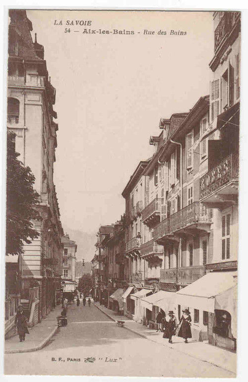rue des bains aix les bains la savoie france postcard hippostcard. Black Bedroom Furniture Sets. Home Design Ideas