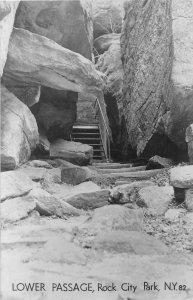 G45/ Rock City Park New York RPPC Postcard 1952 Lower Passage Geology