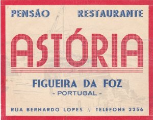 Portugal Figueira Da Foz Pensao Astoria Luggage Label sk4620