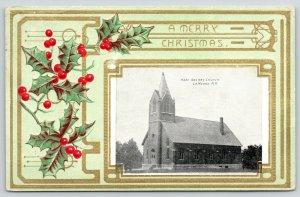 La Moure North Dakota~Merry Christmas~Holy Rosary Catholic Church~Holly Emb~1909