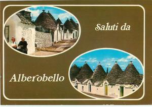 Saluti da Alberobello homes in italy Cone Roofs Thatched Postcard  # 6572