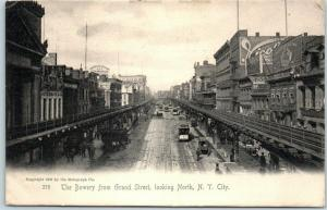 New York City Postcard Bowery from Grand Street, Looking North Rotograph 1905