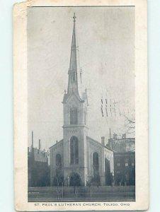 Divided-back CHURCH SCENE Toledo Ohio OH AD1962