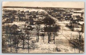 Eagle Bend Minnesota~Birdseye Down Snowy Main Street~Department Store~1912 RPPC