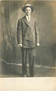 C-1910 Virgil Young man Pointer RPPC Photo Postcard 13161