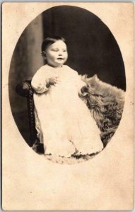 Vintage RPPC Studio Photo Postcard Little Girl Baby White Dress Fur Rug c1908
