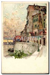 Old Postcard Illustrator Menton