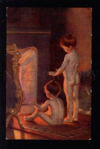 032723 NUDE Young Girls near Fire by PAUL PEEL Vintage PC