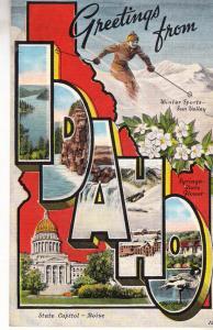 Greetings From Idaho - E.C.Kopp Co. Linen Texture - Unused