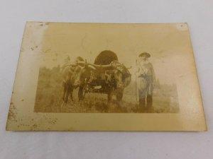 Circa 1900-10 Old Timer Cane Ox Cart Wagon Traveler Real Photo Postcard P29