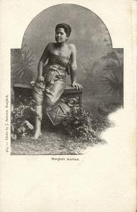 siam thailand, BANGKOK, Native Young Woman (1899) Postcard