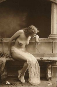 Nude Woman Butterfly on Bench FTD #3512 c1910 Italian Real Photo Postcard