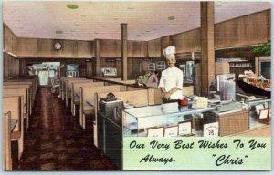 Sault Ste Marie Michigan Postcard CHRIS' STEAK HOUSE Chef / Cigar Counter Linen