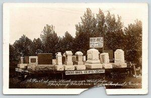 Cedar Rapids Iowa~Krebs Bros Co~Grave Monument Display~Head Stones~1913 RPPC