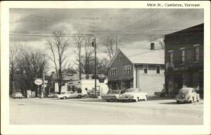 Castleton VT Main St. Esso Gas Cars VW Bug Postcard