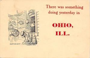 Something Doing in Ohio Illinois~Pots Pans Cat Out Window~Man Peeks In~1909