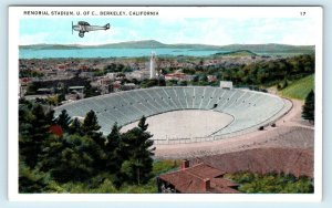 BERKELEY, CA  University of California MEMORIAL STADIUM~Plane  c1920s Postcard