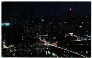 Postcard - Pittsburgh, PA by Night, Cinderella City Lights, Pennsylvania