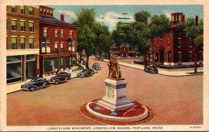 Maine Portland Longfellow Square Longfellow Monument 1938 Curteich