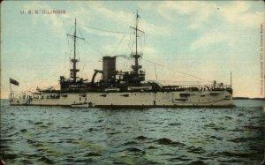 US Navy Battleship USS Illinois 1907 Enrique Muller Postcard