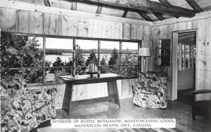 <A5> CANADA Ontario Postcard Photo RPPC c1940s MANITOULIN ISLAND Lodge Interior