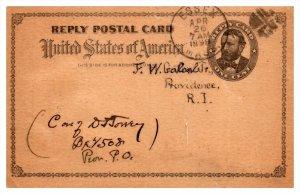 Massachusetts Essex Cancel 1899 , Edgewood Congregational Society , Reply Card
