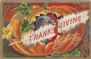 THANKSGIVING DAY, PU-1906; Wild Turkey in Pumpkin