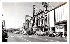 RPPC  RENO, NV Nevada  Virginia STREET SCENE  CASINOS c1940s Cars  Postcard