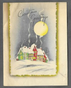 VINTAGE 1940s WWII ERA Christmas Greeting Holiday Card SNOWY VILLAGE & MOON