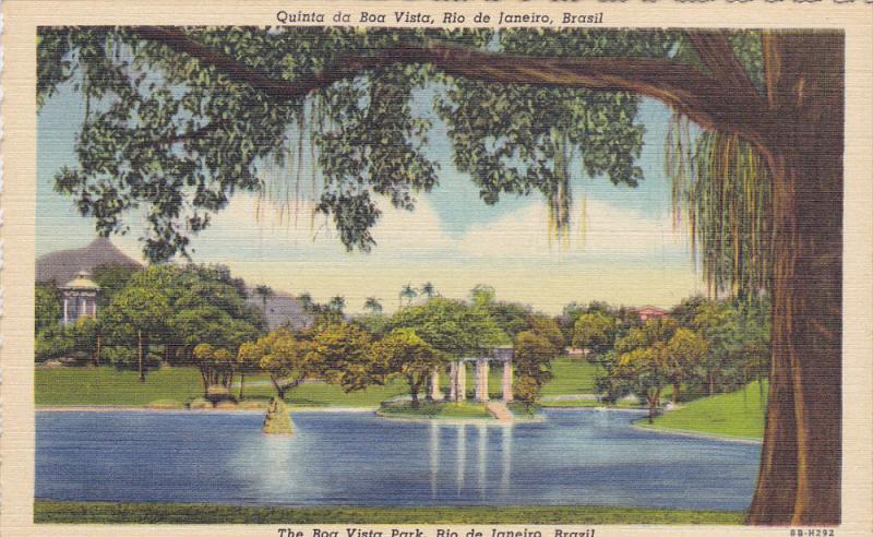 RIO DE JANEIRO, Brazil, 1930-1940's; The Boa Vista Park, Lake Scene