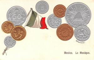 Coin Postcard, Old Vintage Antique Mexico Le Lexique