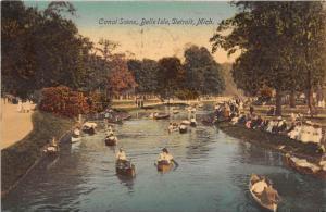 11817  MI Detroit 1908  Canal Scene, Belle Isle,  Canoes