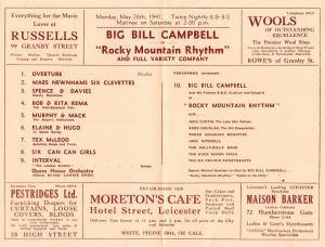 Big Bill Billy Campbell Country & Western Leicester Theatre Concert Programme