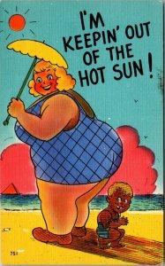 Vintage Risque Postcard Beach Humor Linen Sun Women