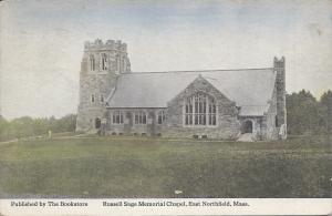 Russell Sage Memorial Chapel, East Northfield, MA, Early Postcard, Used  in 1925